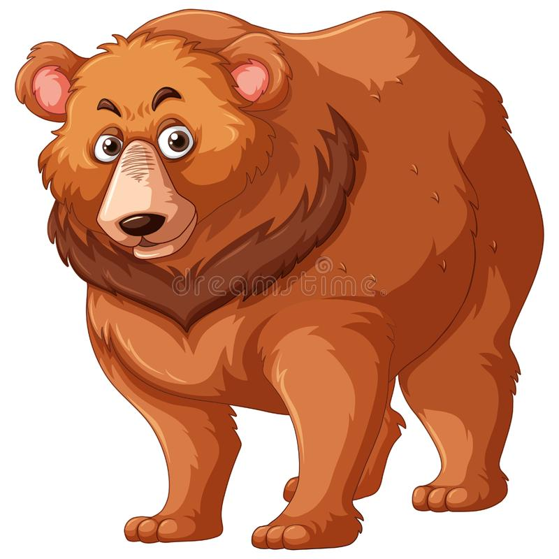 Grizzly bear with brown fur royalty free illustration