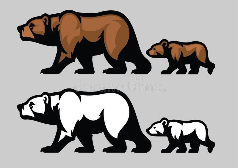 Grizzly bear and her cubs. Vector of grizzly bear and her cubs royalty free illustration