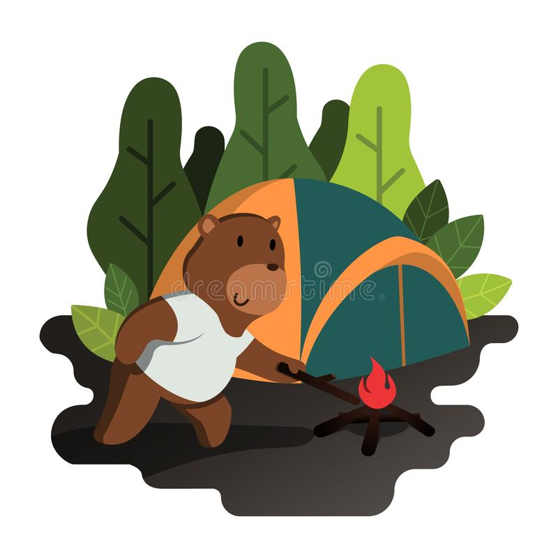 Grizzly Bear Lit a Campfire Near Camping Tent Flat Illustration stock illustratie