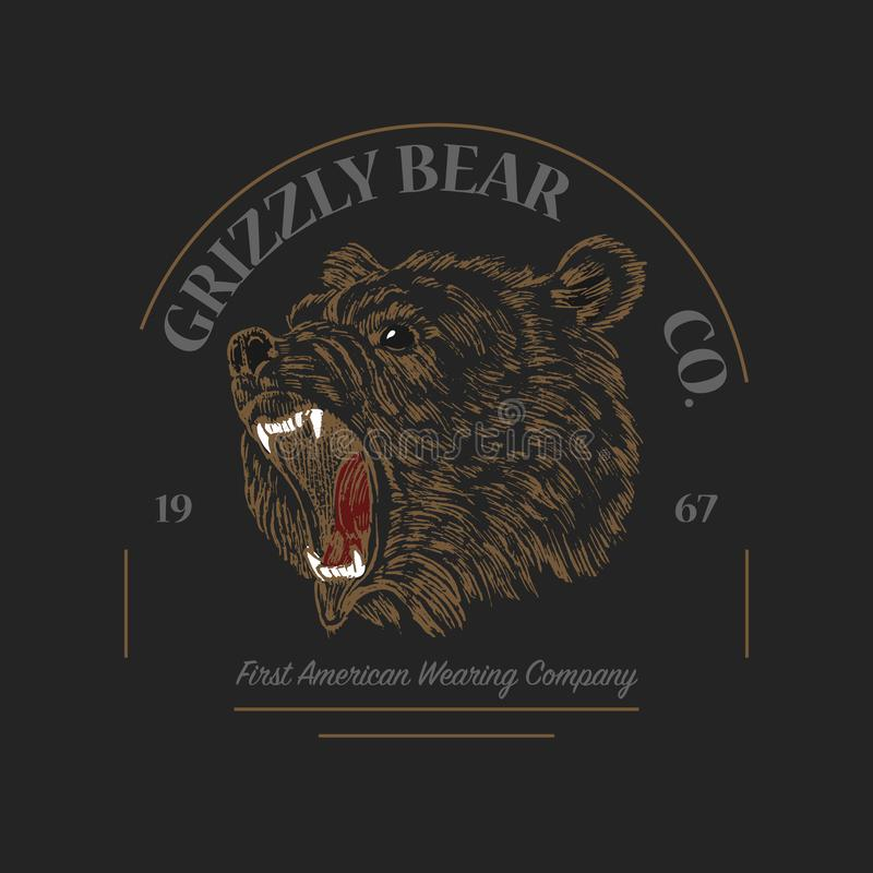 Grizzly Bear logo. Grunge label print. Angry roar of a predator. Badge or emblem Engraved hand drawn old monochrome stock illustration