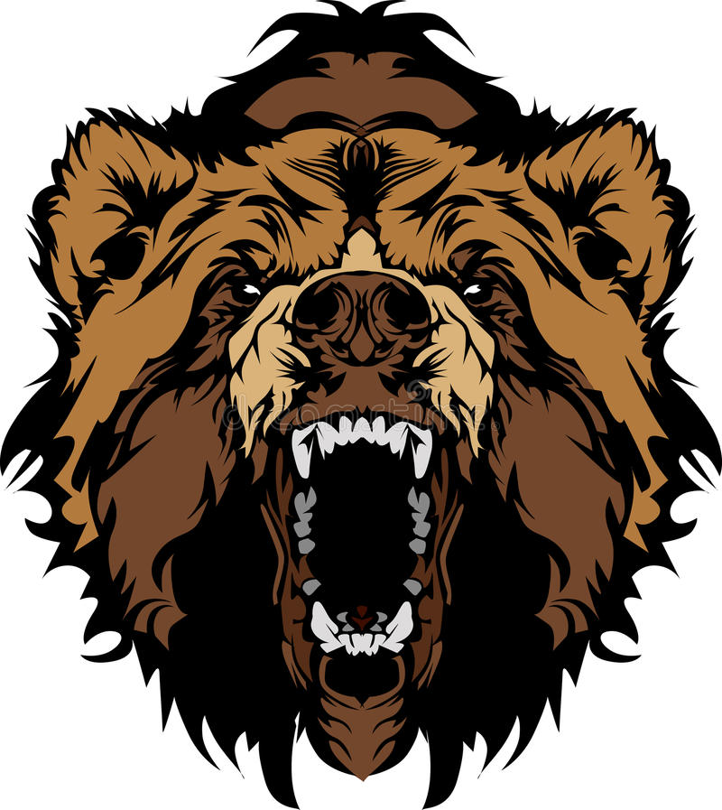 Free Grizzly Bear Mascot Head Graphic Royalty Free Stock Photography - 21869957