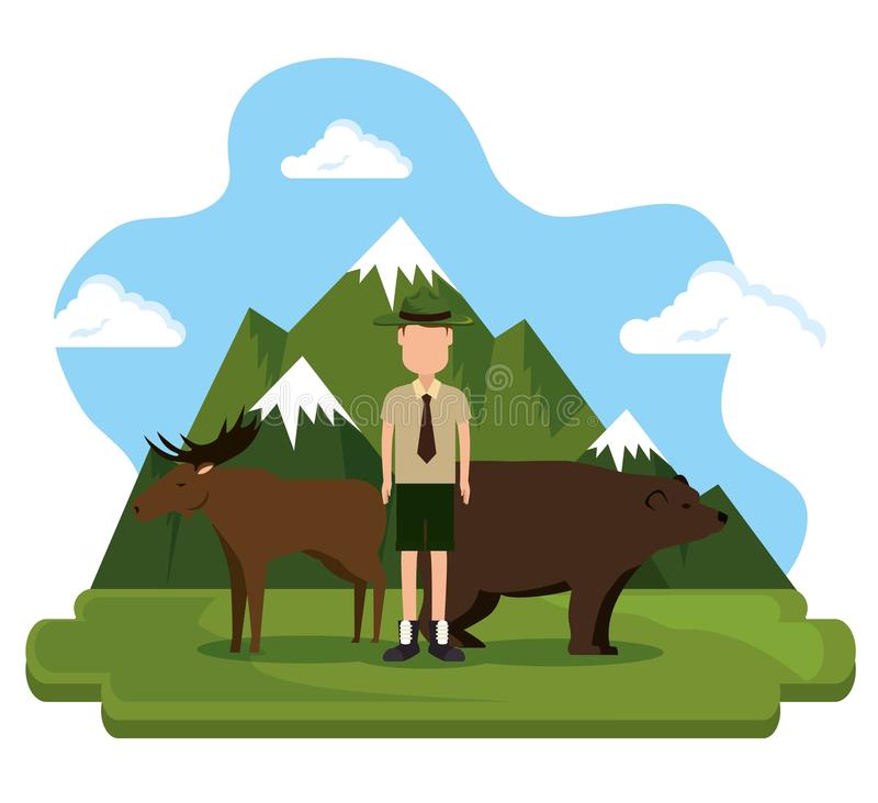 Grizzly bear and moose canadian scene vector illustration