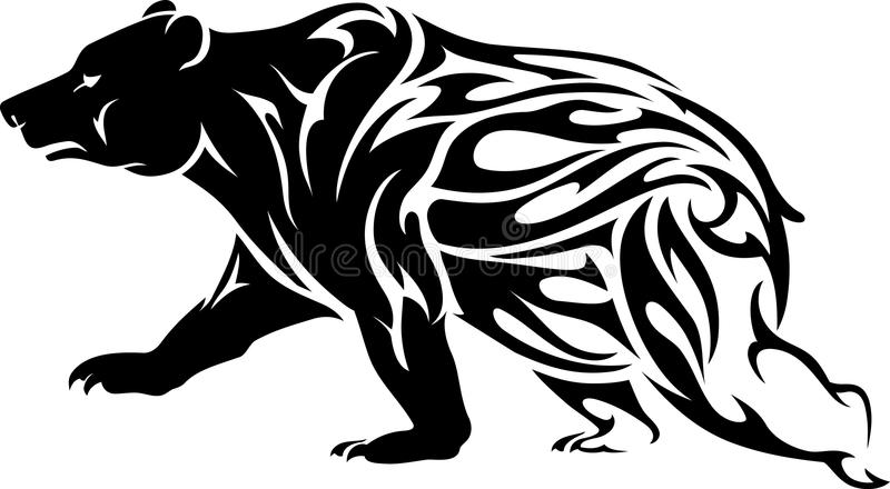 Grizzly Bear Tattoo stock illustration