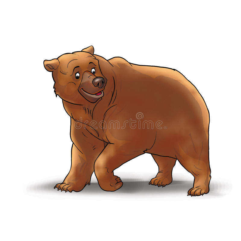 Grizzly Bear on white. Brown Bear on white background. Big bear smiling. Digital illustration, Image, clip art for child book, Alphabet books, Learning Book vector illustration