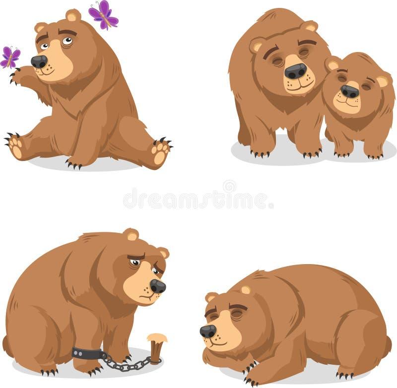 Grizzly niedźwiedź ustawia 2 ilustracja wektor