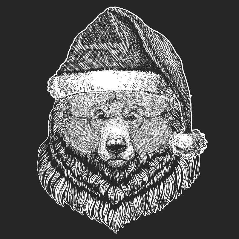 Grizzly niedźwiedzia Duzi dzicy niedźwiadkowi boże narodzenia, nowego roku świętowanie Święty Mikołaj zimy kapelusz Xmas pióropus ilustracji