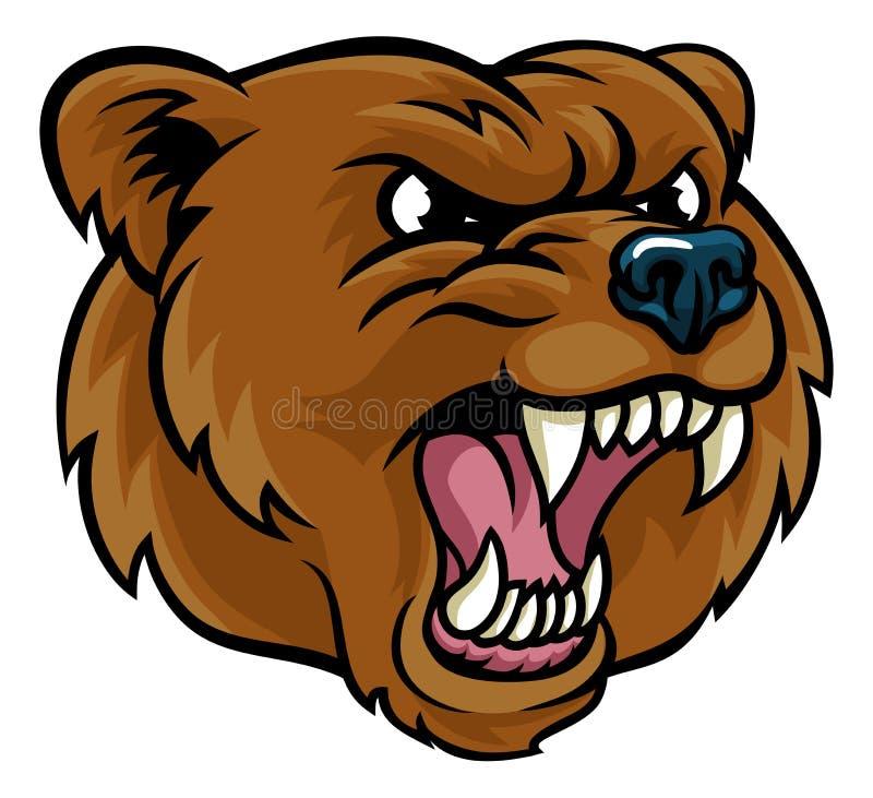 Grizzly niedźwiedzia kreskówki maskotki Gniewna twarz ilustracji