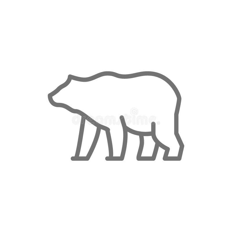Grizzly niedźwiedzia linii ikona ilustracja wektor