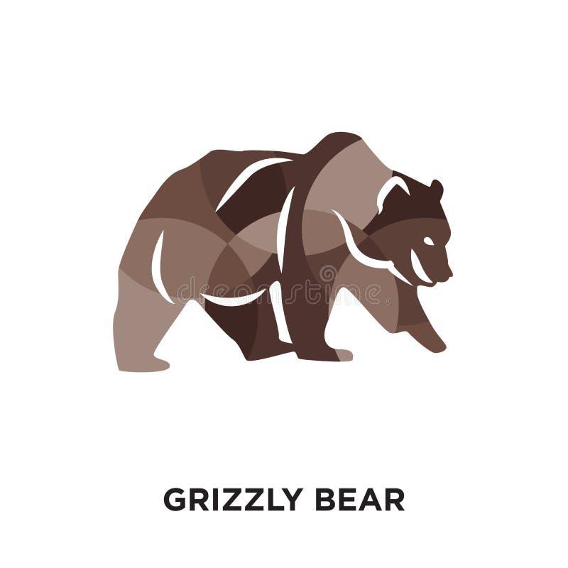 grizzly niedźwiedzia logo odizolowywający na białym tle dla twój sieci, motłoch ilustracja wektor