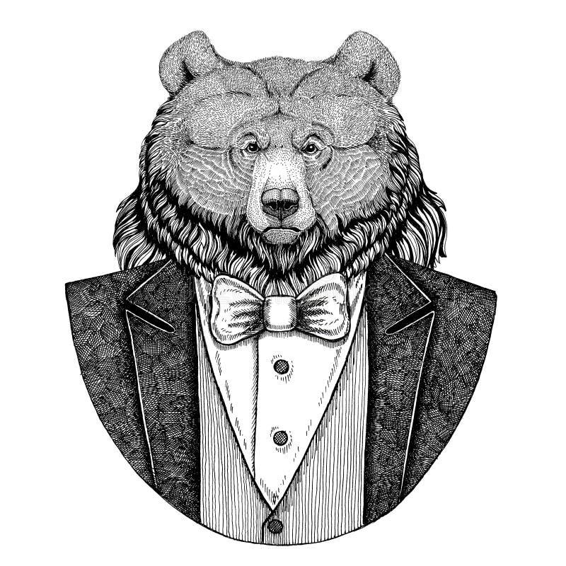 Grizzly niedźwiedzia modnisia Duża dzika niedźwiadkowa zwierzęca ręka rysująca ilustracja dla tatuażu, emblemat, odznaka, logo, ł royalty ilustracja
