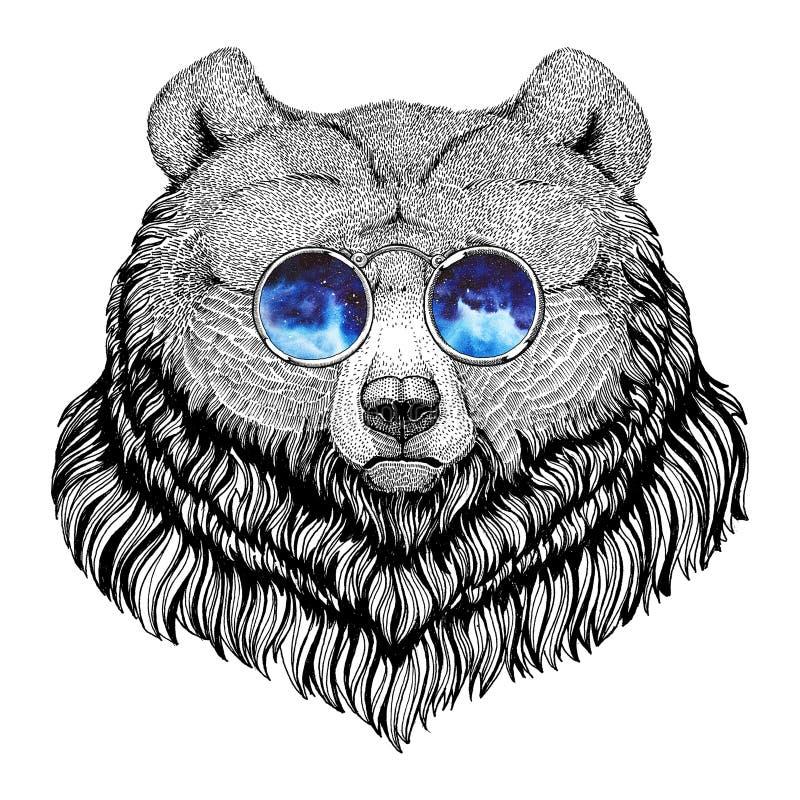 Grizzlybär-Hippie-Art Tierbild für Tätowierung, Logo, Emblem, Ausweisdesign vektor abbildung