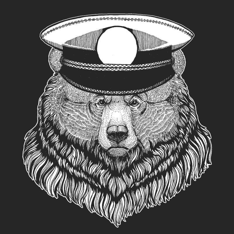 Grizzlybär-Vektordruck für Kinder Capitan, Piratentier E Design für Kindergarten, Schulkinder stock abbildung