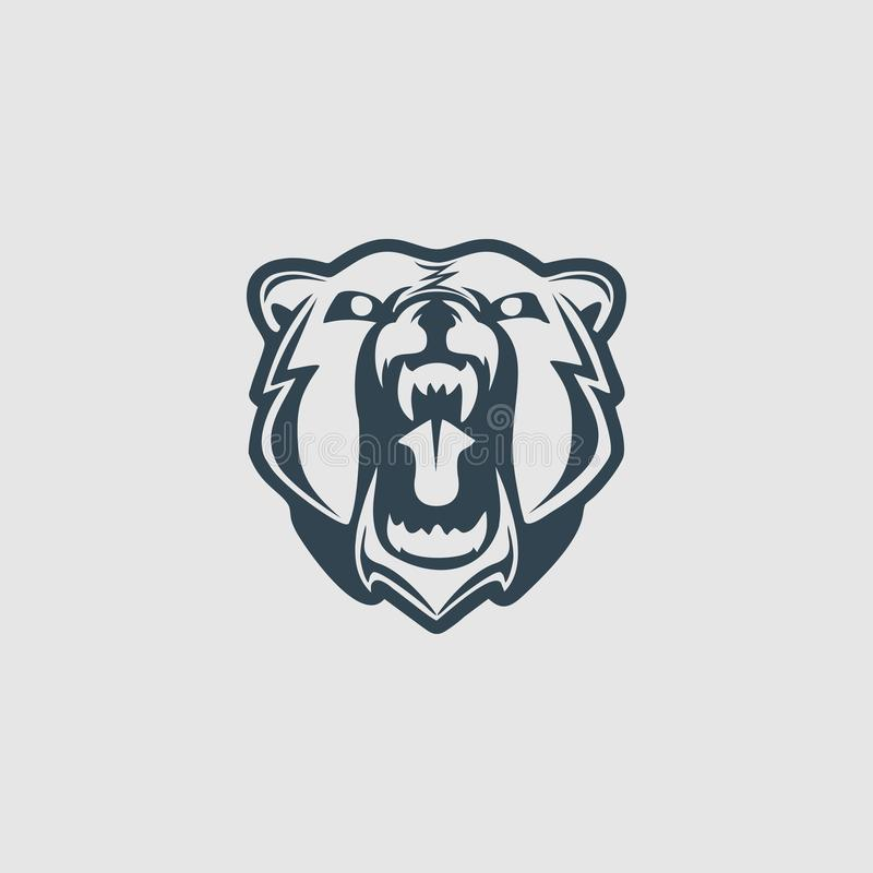 Grizzlybärhauptmonogrammentwurfs-Logoinspiration stockbild
