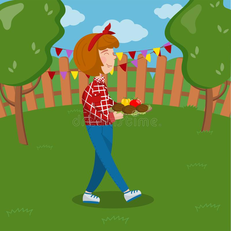 Grl holding plate with grilled meat and vegetables, bbq party on the backyard colorful vector Illustration. Cartoon style stock illustration