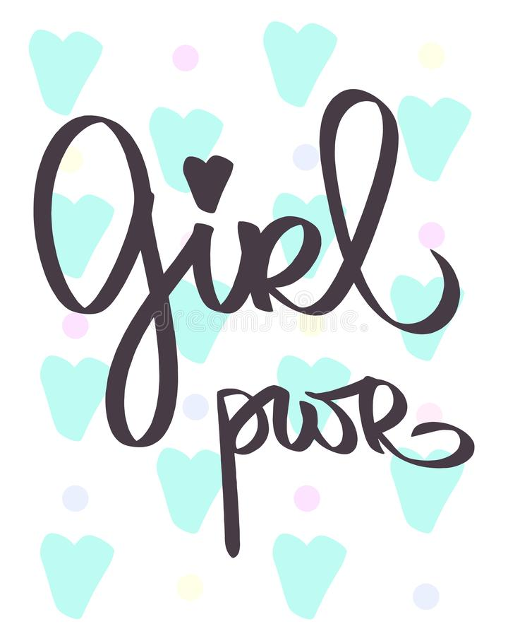 GRL PWR简称 手拉的在上写字的女孩力量 妇女口号 女权主义文本 女孩的词组 贺卡蓝色心脏 向量例证