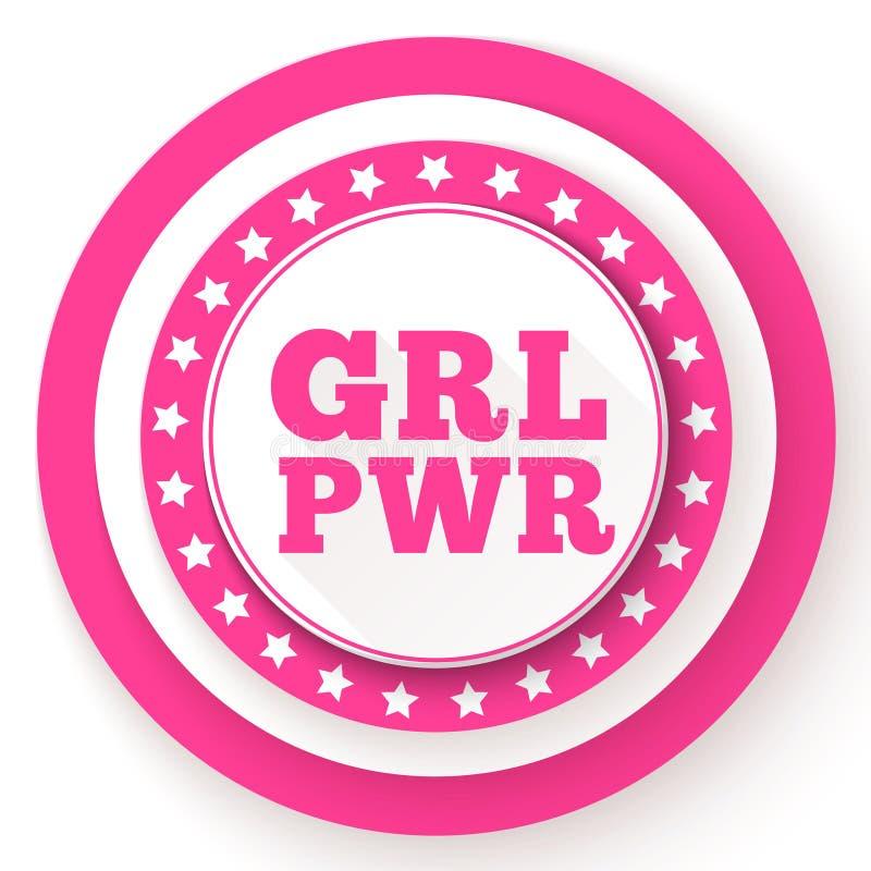 GRL PWR tekst Dziewczyny władzy slogan dla dziewczyny niezależności i upełnomocnienia Feminizm, kobiet dóbr ruch Różowy nowożytny ilustracji