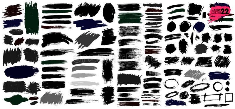 Groß von der Sammlung schwarzer Farbe, Tintenbürstenanschläge, Bürsten, Linien, grungy Schmutzige künstlerische Gestaltungselemen stock abbildung