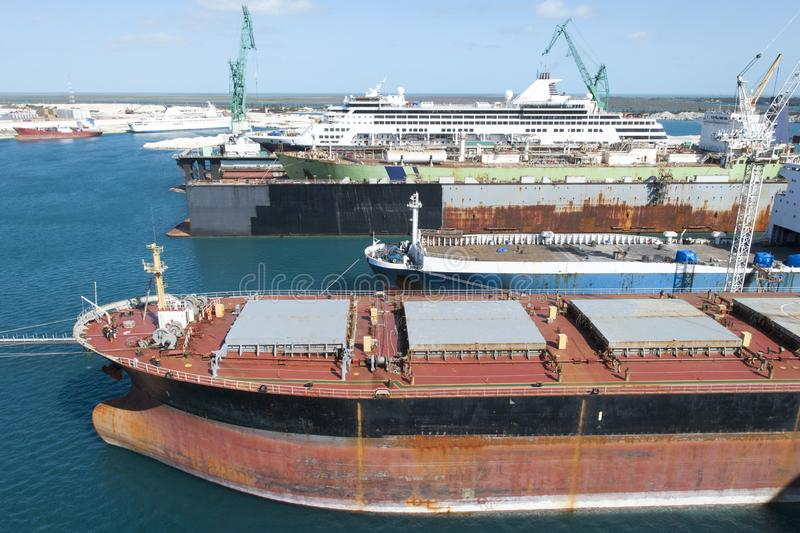 Großartige Bahama-Insel-Hafen-Schiffe stockbild