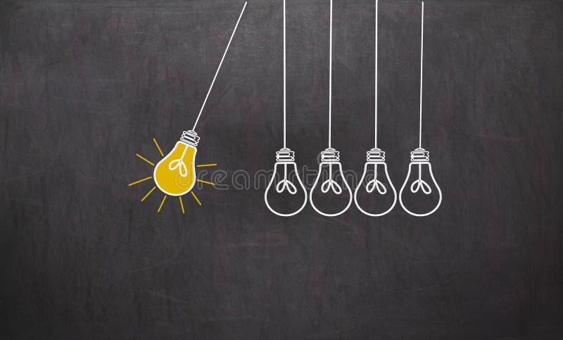 Großartige Idee Kreativitäts-Konzept mit Glühlampen auf Tafel stockfotografie