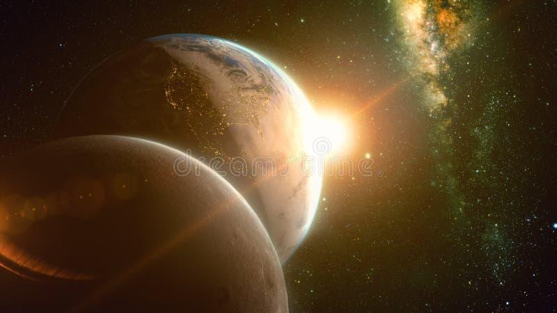 Großartige Sonnenaufgangansicht über Planetenerde und -mond vektor abbildung