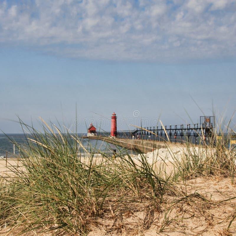 Großartiger Hafen-Leuchtturm Michigan stockbilder