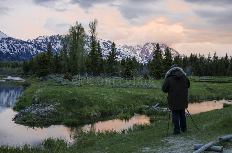 Großartiger Nationalpark Teton an der Dämmerung im Mai stockfotos