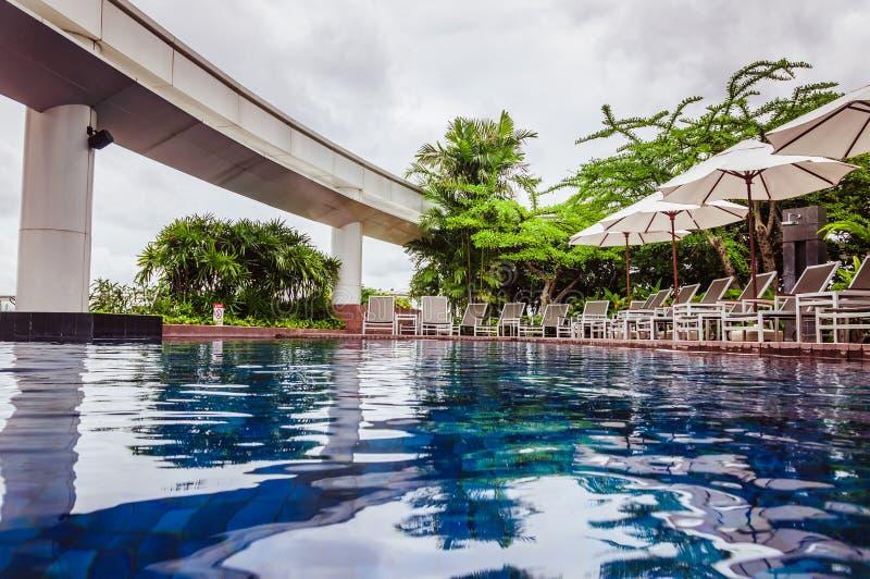 Großartiges Pool umgeben mit Schreibtischstühlen und grünen tropischen Bäumen lizenzfreie stockbilder