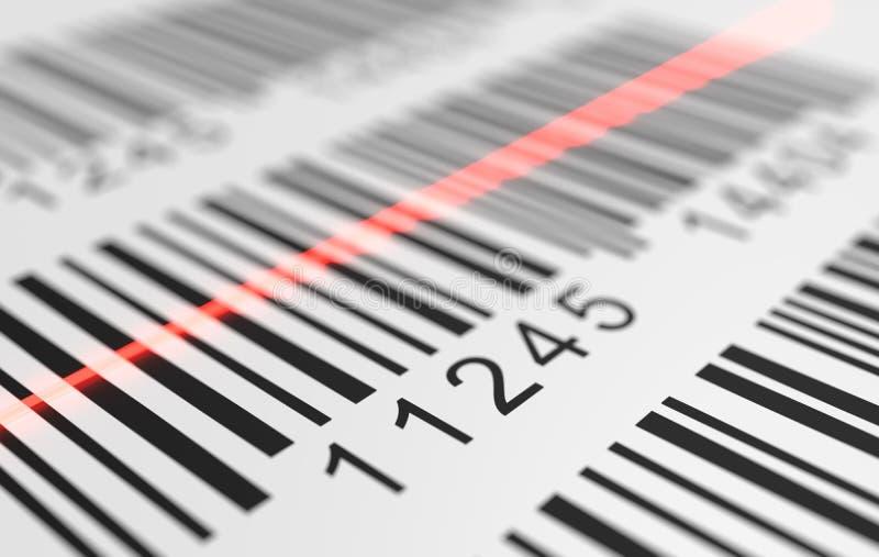Großaufnahme auf rotem Laser scannt Aufkleber mit Barcode auf Produkt 3D übertrug Abbildung stock abbildung