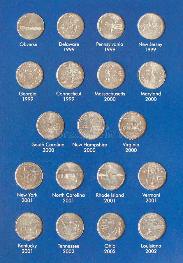 Gro?aufnahme der Sammlung Vierteldollar 25 Centm?nzen im Album - numismatische Sammlung stockbilder