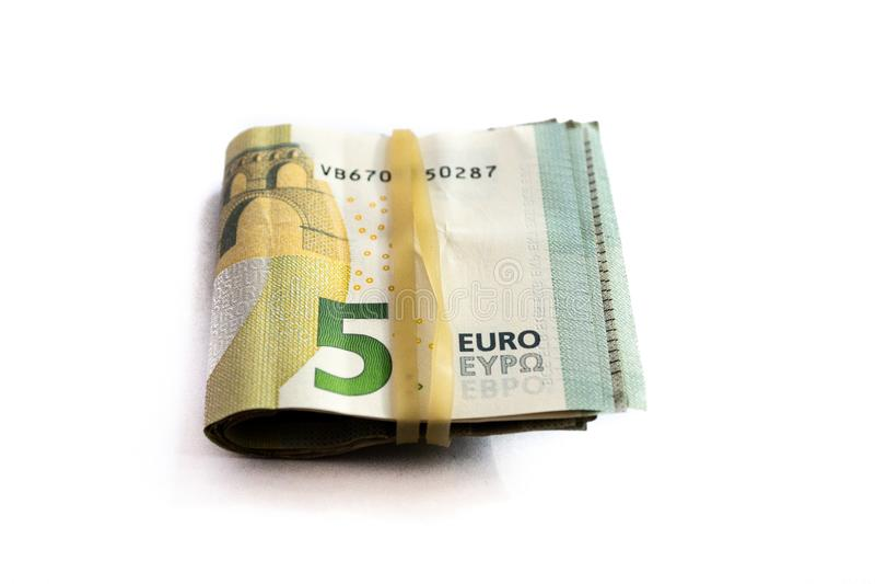 Gro?aufnahme eines Pakets von gefaltet 5 Eurobanknoten lizenzfreies stockbild