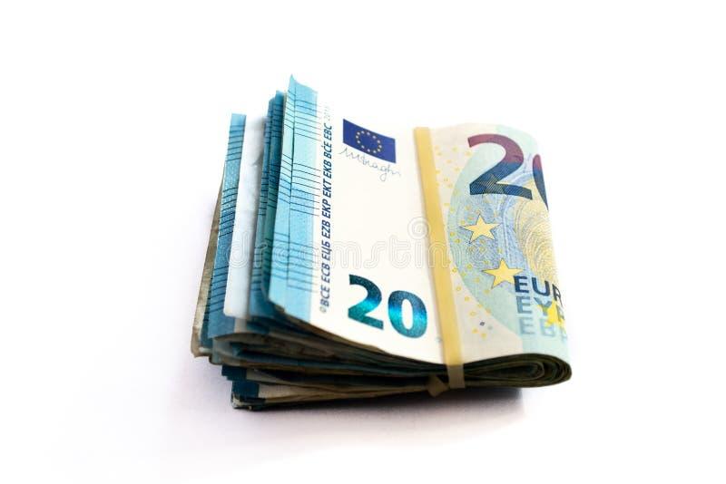 Gro?aufnahme eines Pakets von gefaltet 20 Eurobanknoten lizenzfreies stockbild