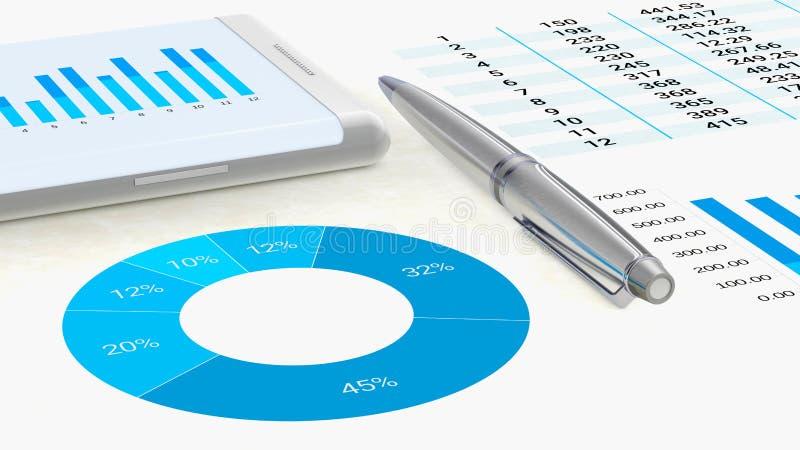 Großaufnahme zu einem Arbeitsplatz mit Grafiken auf Papier und einem Smartphone lizenzfreie abbildung