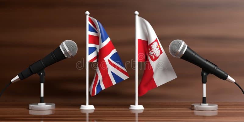 Großbritannien- und Polen-Miniaturflaggen Kabelmikrophone, hölzerner Hintergrund, Fahne Abbildung 3D stock abbildung