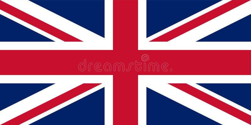 Großbritannien Union Jack Markierungsfahne von Vereinigtem Königreich Offizielle Farben Korrekter Anteil Vektor vektor abbildung