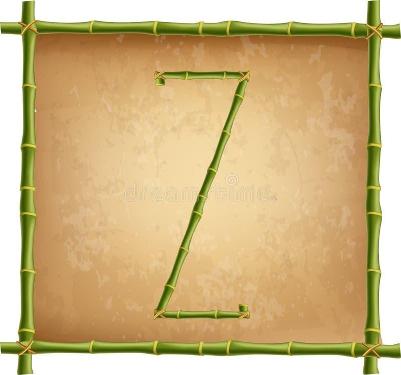 Großbuchstabe Z machte von den grünen Bambusstöcken auf altem Papierhintergrund vektor abbildung