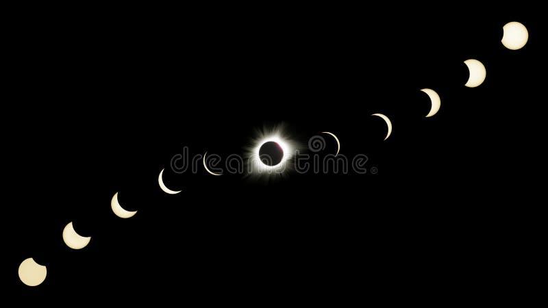 Große amerikanische Eklipse-Zusammensetzung, die alle Phasen zeigt lizenzfreie stockbilder