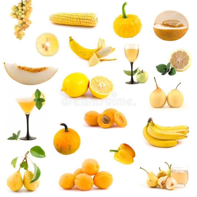 Große Ansammlung gelbes Gemüse und Früchte stockfoto