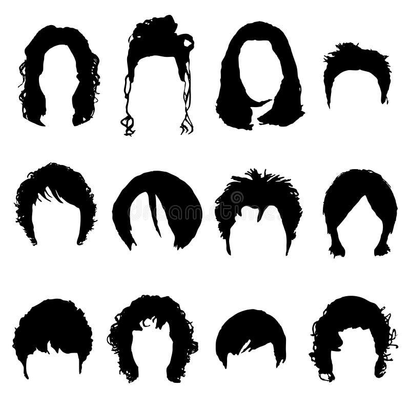 Große Ansammlung schwarze Haare, die für Frau anreden stock abbildung