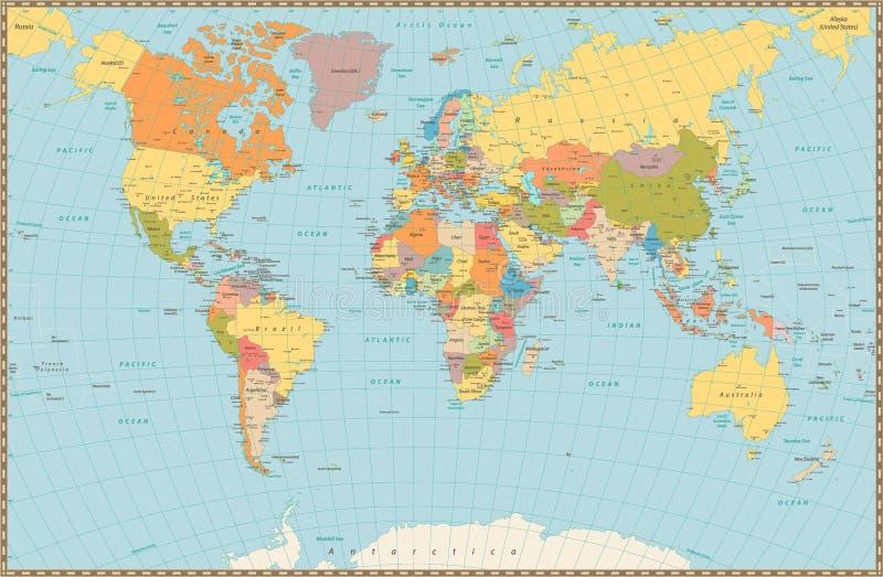 Große ausführliche Weinlesefarbepolitische Weltkarte vektor abbildung