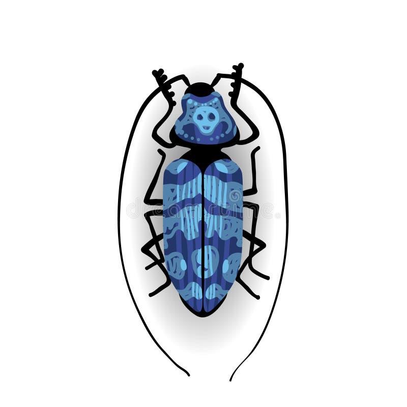 Große blaue Wanze mit den langen Schnurrbärten lizenzfreie abbildung