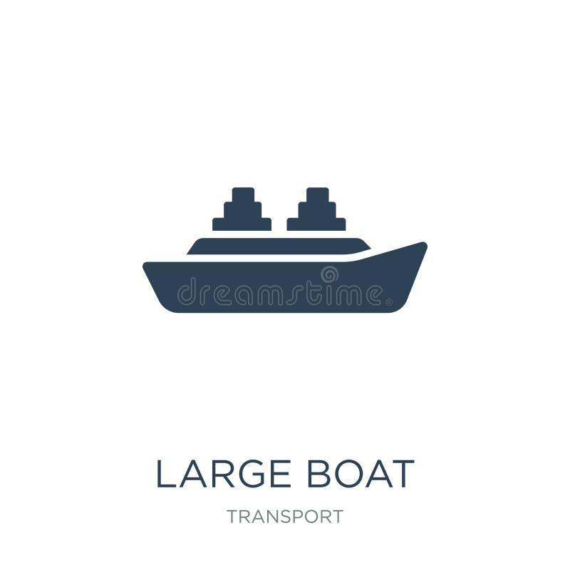 große Bootsikone in der modischen Entwurfsart große Bootsikone lokalisiert auf weißem Hintergrund große Bootsvektorikone einfach  lizenzfreie abbildung