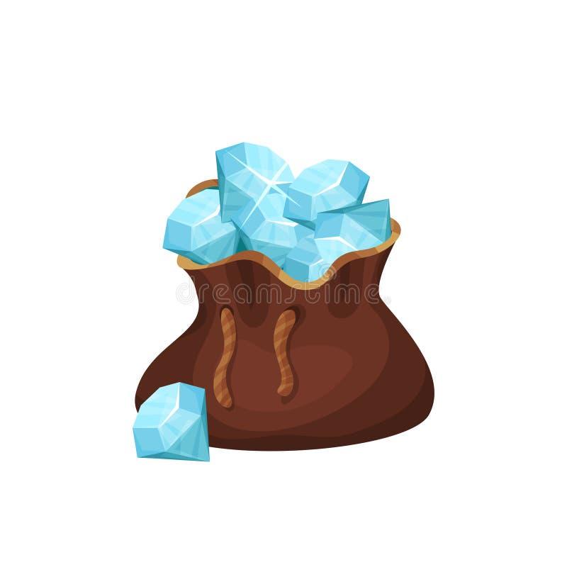 Große braune Tasche voll von Edelsteinen Blaue glänzende Diamanten Wertvolle Edelsteine Gestaltungselement für Juweliergeschäftfl vektor abbildung