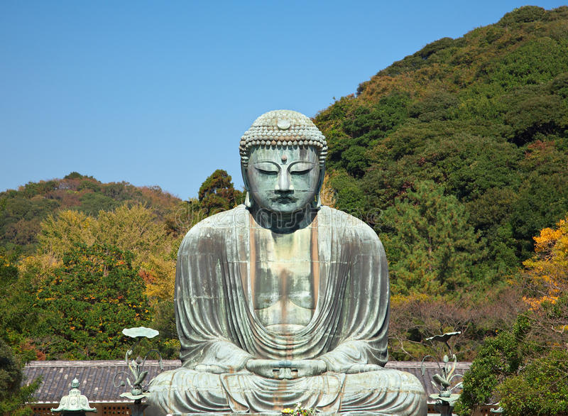 Große Buddha-Statue in Kamakura stockfotos