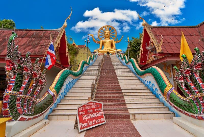 Große Buddha-Statue. KOH Samui Inselgrenzstein lizenzfreies stockbild