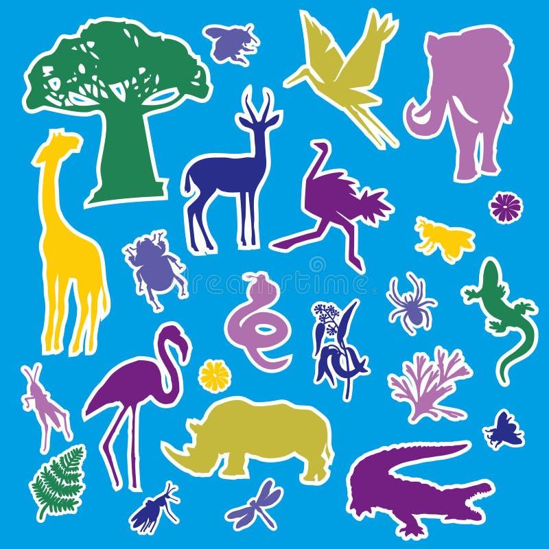 Große Cartoon-Tropenaufkleber Wildnis in Afrika Auf einem hellen Hintergrund isolierte, flache Spots stock abbildung