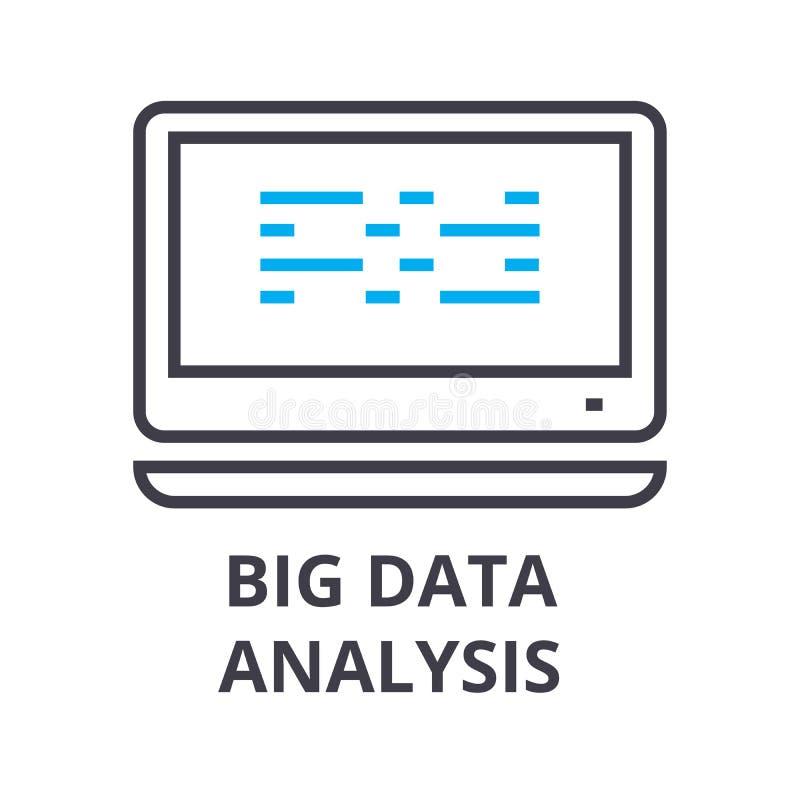 Große dünne Linie Ikone, Zeichen, Symbol, illustation, lineares Konzept, Vektor der Datenanalyse lizenzfreie abbildung