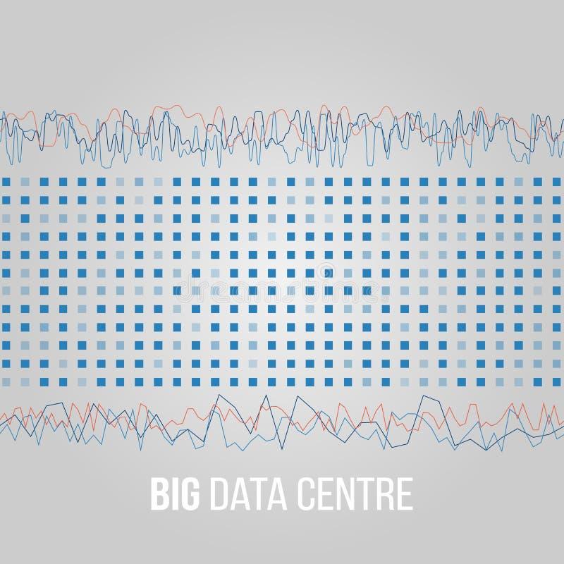 Große Daten-Algorithmen Analyse von Design Informationen Minimalistic Infographics Wissenschaft, Technologiehintergrund Vektor lizenzfreie abbildung