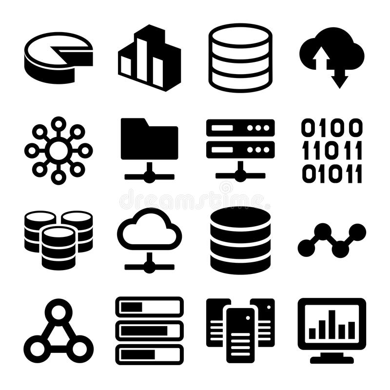 Große Daten-Analytik-Ikonen eingestellt auf weißen Hintergrund vektor abbildung