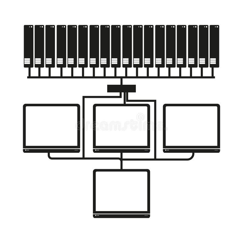 Große Daten Computernetzwerk-Vektorschwarzikone auf weißem Hintergrund vektor abbildung