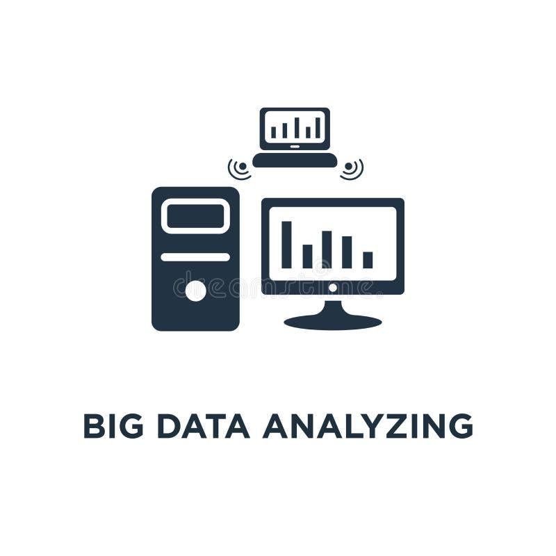 große Daten, die Ikone analysieren Informationssammlung und Verarbeitung des Konzeptsymbolentwurfs, Berichtsdiagramm, Datenserver lizenzfreie abbildung